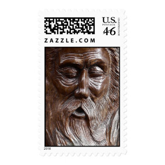 Wise Old Man Sleeps and Snores Postage Stamp