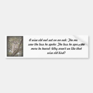 Wise Old Owl - Bumper Sticker
