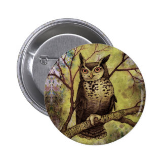Wise Old Owl Button