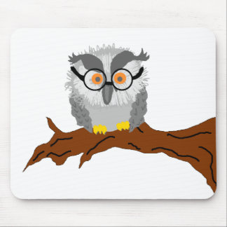 Wise Old Owl on a Branch Mousepad