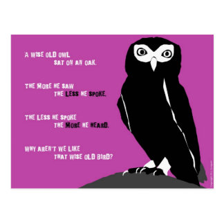 Wise Old Owl Postcard in Cerise