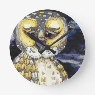 Wise Old Owl Round Clock
