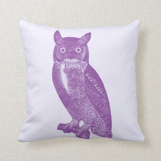 Wise Old Purple Owl, Pretty Female Owlet Picture Throw Pillow