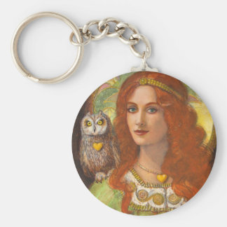 Wise Ones- Celtic Owl and Lady Keychain