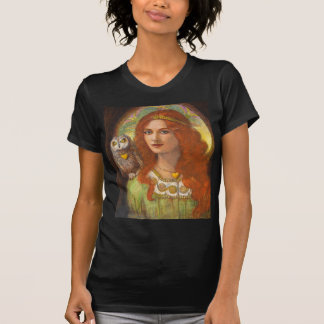 Wise Ones- Celtic Owl and Lady T-Shirt