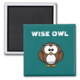 WISE OWL 2 INCH SQUARE MAGNET