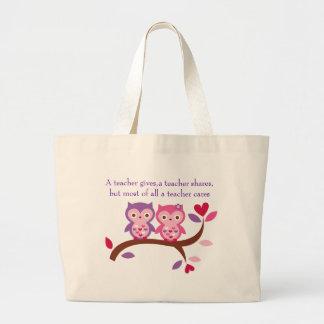 Wise Owl A teacher cares Jumbo Tote Bag