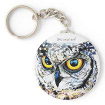 Wise owl art illustration keychain