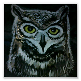Wise Owl at Night Poster