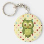 Wise Owl Basic Round Button Keychain