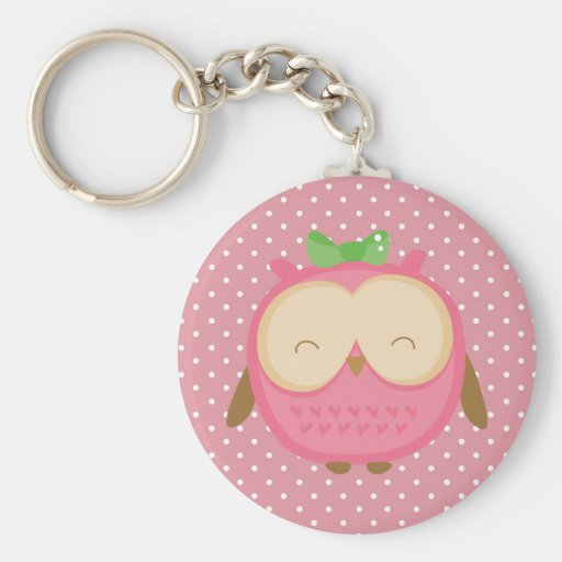 Wise Owl Basic Round Button Keychain