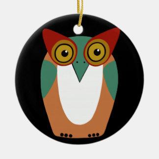 Wise Owl Cartoon Ceramic Ornament