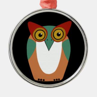 Wise Owl Cartoon Metal Ornament