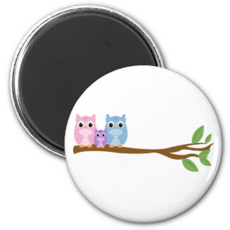 Wise Owl Family 2 Inch Round Magnet