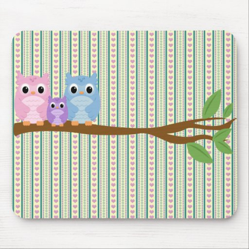 Wise Owl Family Mouse Pad