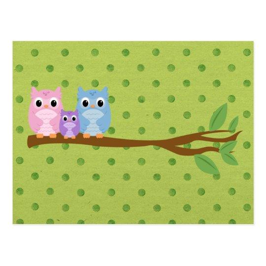 Wise Owl Family Postcard