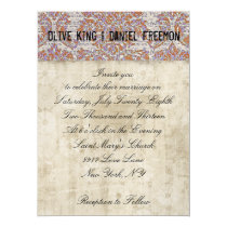 Wise Owl Floral White & Damask Wedding Invitation