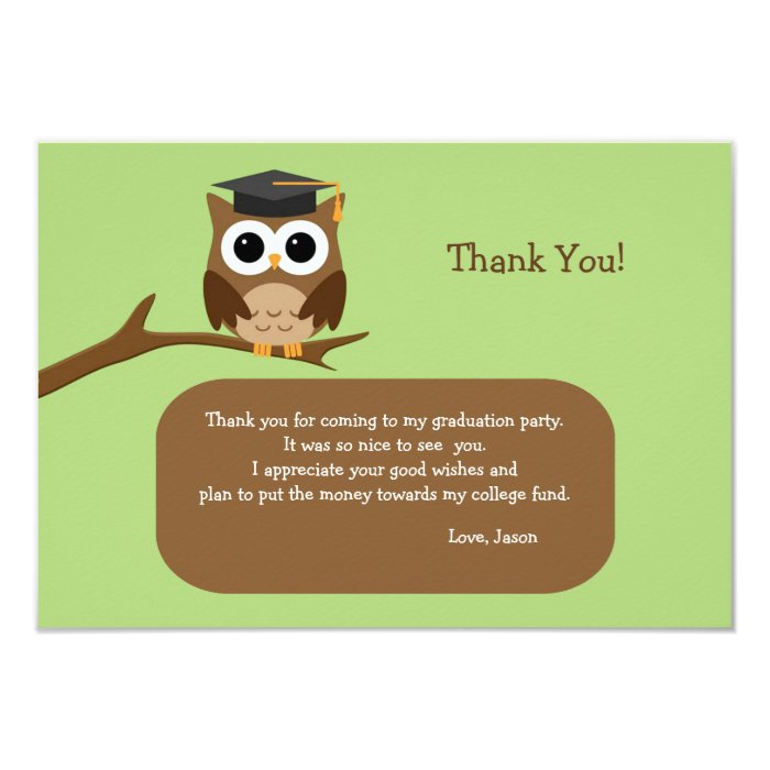 Wise Owl Graduation Thank You Note Card | Zazzle