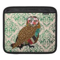 Wise Owl Green Damask  iPad Sleeve
