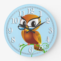 Wise Owl in Spectacles Light Blue Large Clock