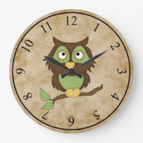 Wise Owl Large Clock