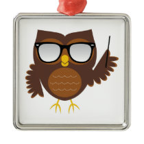 Wise Owl Metal Ornament