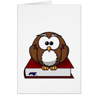 Wise Owl on Book, teacher, wisdom, knowledge study Card