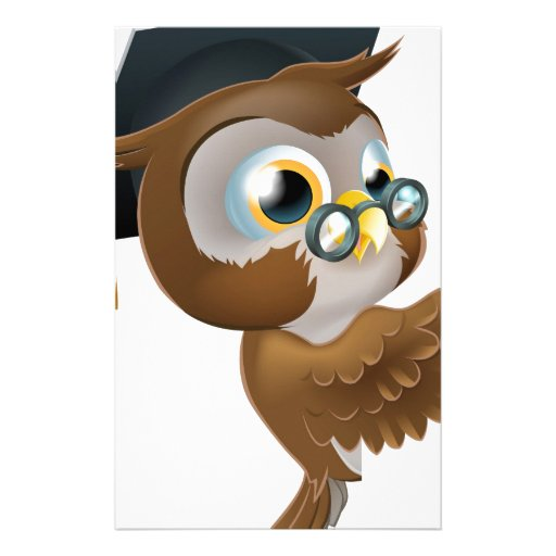 Wise Owl Pointing Sign Custom Stationery
