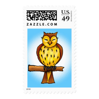 Wise owl postage stamp