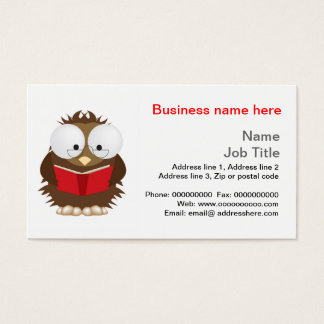 Wise owl reading book stationery business card