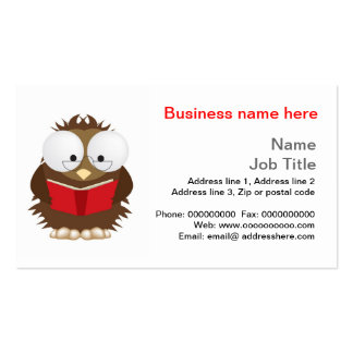 Wise owl reading book stationery business cards