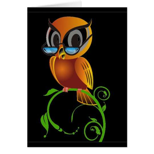 Wise owl w glasses black background card