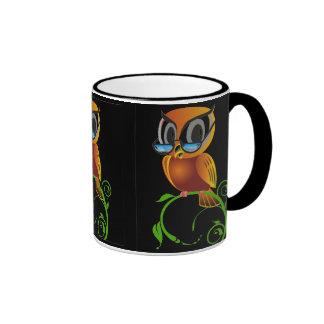 Wise owl w glasses black background coffee mugs