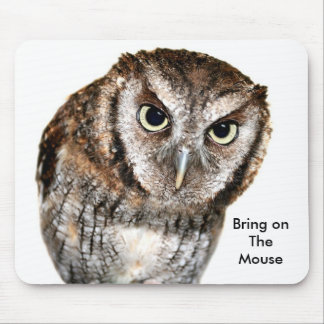 Wise Owl waiting for Mouse fun Mousepad