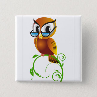 Wise owl with glasses button