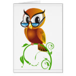 Wise owl with glasses greeting cards