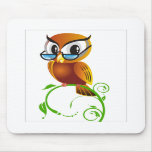 Wise owl with glasses mousepad