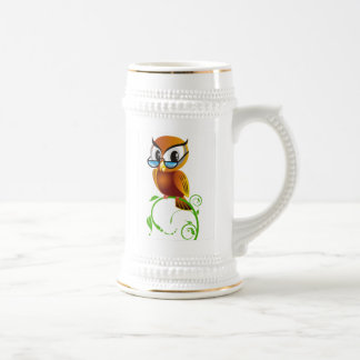 Wise owl with glasses 18 oz beer stein