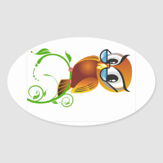 Wise owl with glasses oval sticker