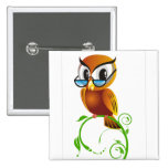Wise owl with glasses pinback button