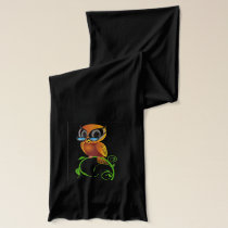 Wise owl with glasses scarf