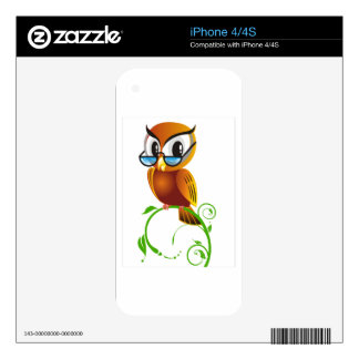 Wise owl with glasses decal for the iPhone 4