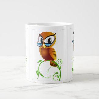 Wise owl with glasses jumbo mugs