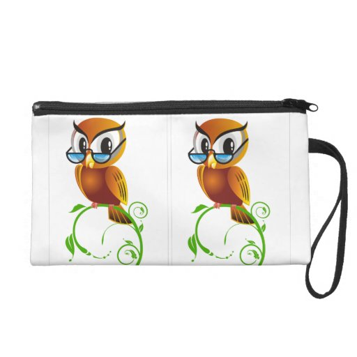 Wise owl with glasses wristlet
