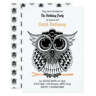 Wise Owl Zentangle Mandala Card
