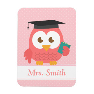Wise Pink Owl Teacher Personalized Magnet