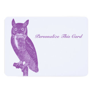 Wise Purple Owl Card
