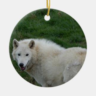 wise wolf ceramic ornament