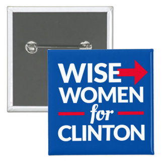 WISE WOMEN FOR CLINTON  2-inch square button