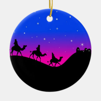Wisemen Double-Sided Ceramic Round Christmas Ornament